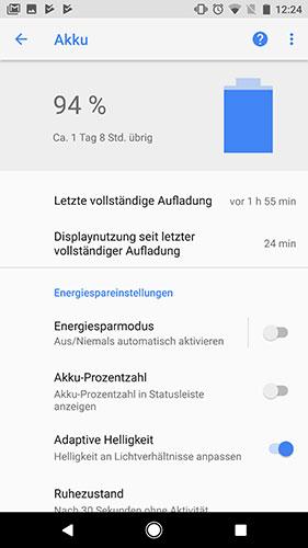 Android 8 Akkuleistung