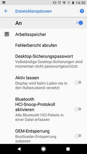 Android 8 Entwickleroptionen