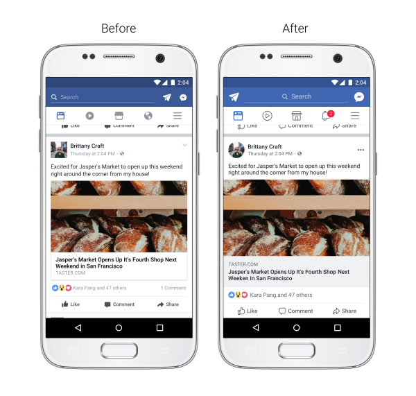 FB Redesign Newsfeed