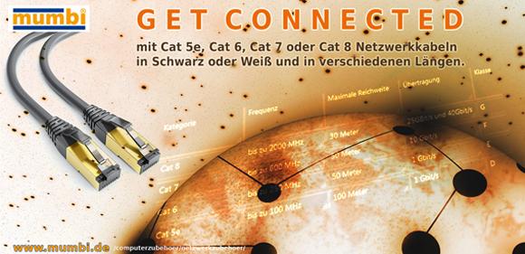 Cat.5e, Cat.6, Cat.7 und Cat. 8 Ethernetkabel in verschiedenen Längen